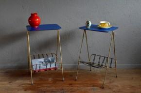 Paire de chevets d'internat desserte guéridon années 60 vintage rétro set of bedside table service table frencn furniture midcentury sixties scoubidou Hitier