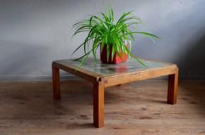 Table basse  Pierre Chapo, orme céramique massif , chapo édition, Perriand, le Corbusier, artisanat, ébénisterie d'art, design, minimalisme années 70