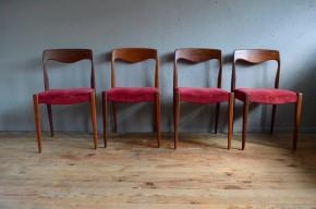 Chaises scandinaves vintage rétro teck velour rouge années 60 Danemark scandinavian chairs mobilier seventies vinyle teak chairs