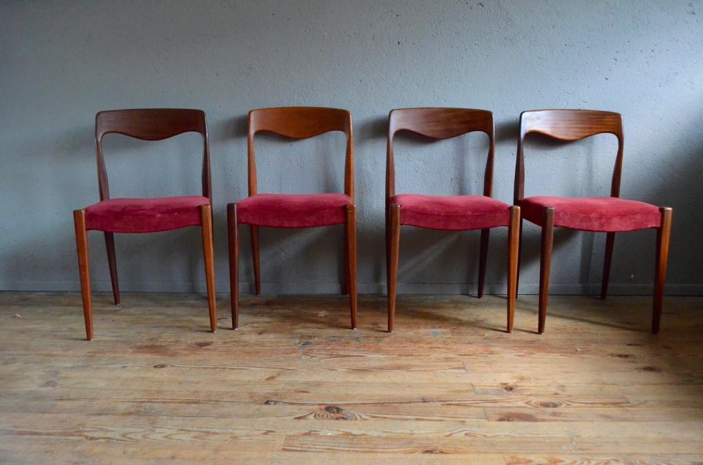 Chaises Scandinaves Vintage Retro Teck Velour Rouge Annees 60 Danemark Scandinavian Chairs Mobilier Seventies Vinyle Teak