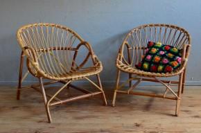 Paire de fauteuils en rotin vintage rétro années 60 bohème antic rattan furniture bohemian deco