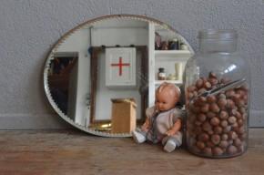 Miroir biseauté vintage rétro années 40 bohème art déco ovale