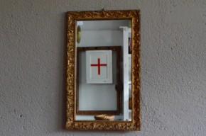 Miroir ancien doré or bois antique bohème vintage rétro patiné déco mix and match motifs floraux arabesques
