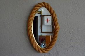Miroir ovale corde design dans le style d' Audoux Minet années 60 minimaliste brutaliste wabi sabi shabby chic milieu de siècle Francis Jourdain