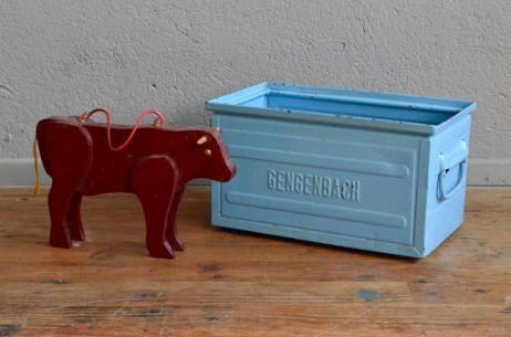 Caisse en métal industriel indus Franz Kramer Lager Fix Schafer meuble d'atelier vintage rétro bleu industrial metal box