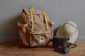 Sac à dos Lafuma randonnée vintage rétro années 50 toile de coton cuir sac week-end antic french bag leather canevas