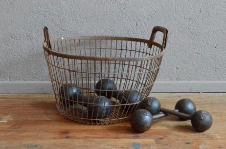 Corbeille en métal panier vintage rétro fer blanc indus rétro ancienne poubelle usine atelier coffre à jouet