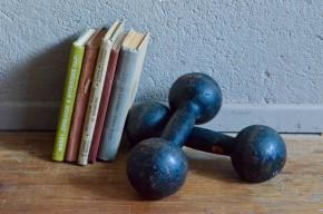 Haltères vintage rétro antic dumbbells fonte sport