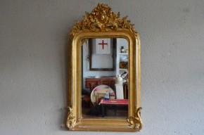 Miroir doré ancien antiquité 19ème siècle à fronton antic golden mirror french mirror bohemian deco