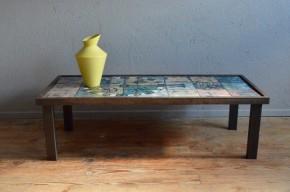 Table basse rétro vintage brutaliste minimaliste céramique émaillée art brut indus design table low