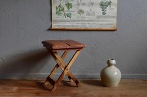 Tabouret de chasseur pécheur rustique gipsy chic bohème wabi sabi patine french wooden stool bohemian cuir brocante