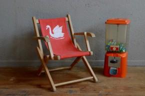 Transat chaise longue chilienne enfant fauteuil de plage vintage rétro années 70 bohème