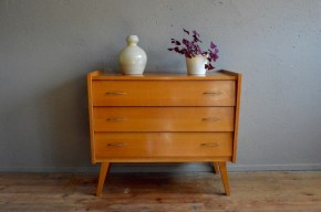 Commode vintage rétro pieds compas seventies années 70 bois clair antic chest of drawers french furniture scandinavian design