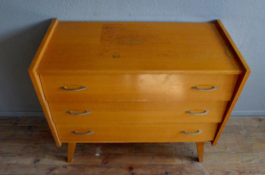 commode vintage rtro pieds compas seventies annes 70 bois clair antic chest of drawers french furniture - Commode Vintage Pieds Compas