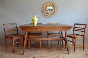 Ensemble table et chaises René Gabriel vintage rétro années 50 reconstrustion design moderniste antic french furniture wooden table chairs rustique
