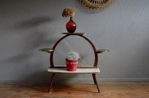 Porte-plantes vintage pop formica sixties tripode cofee table plants