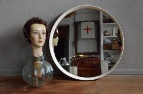 Miroir scandinave vintage rétro années 70 space age miroir rond Roger Landault minimaliste,futuriste round mirror