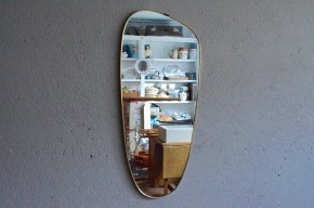 Miroir rétroviseur années 60 forme libre laiton sixties vintage rétro french deco midcentury antic mirror