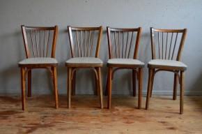 Chaises bistrot Baumann  années 60 vintage rétro assises grises chinées  cuisine scandinave brune simili cuir thonet fischel brasserie alsace