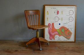 Chaise d'atelier indus années 40 bauhaus lignes minimalistes fauteuil de bureau pivotant réglable bois métal stoll bauhaus
