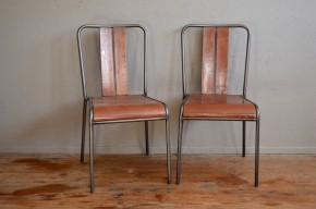 Paire de chaises indus atelier vintage rétro dlg Hitier Tubauto Tolix années 50 set of antic french chairs industrial design midcentury