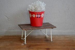 Tabouret porte-plantes minimaliste indus atelier métal et bois vintage rétro années 50 antic plant stand metal stool french furniture midcentury