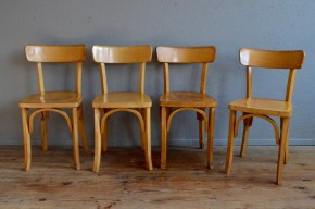 Chaises bistrot vintage rétro années 50 bois clair antic french chairs wooden furniture midcentury