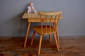 Ensemble bureau et chaise enfant vintage rétro pieds compas années 70 antic french furniture kid desk seventies