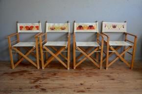Série de chaise pliantes fauteuil de metteur en scène chaise d'appoint camping jardin vintage rétro années 70 pop seventies antic folding chair outdoor furniture french deco