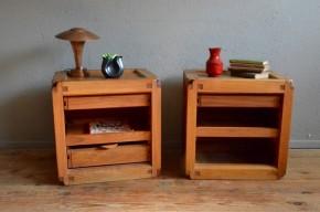 Chevet Pierre Chapo années 60 brutaliste design français minimaliste orme massif Chapo Design french furniture midcentury bedside table