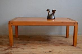 Table basse Pierre Chapo en orme massif et cuir design brutaliste minimaliste années 50 Edition Chapo antic french design table low elm leather midcentury