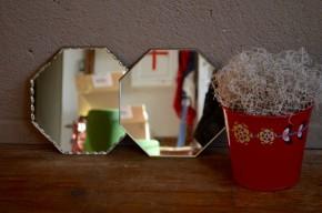 Paire de miroirs biseautés octogonaux vintage rétro bohème années 50 Paris Belle époque art déco
