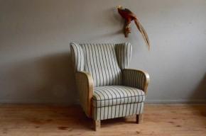 Fauteuil à oreilles art déco vintage rétro années 30 velours club bohème boho rustique anric french armchair grey velvet french furniture