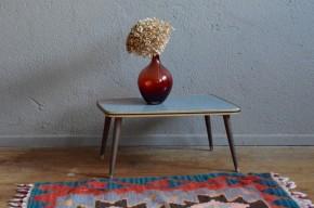 Guéridon vintage rétro porte-plantes années 60 formica pieds compas