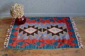 Tapis tissé en laine vintage rétro couleur bohème chambre salon entrée boho chic antic woolen carpet bohemian deco