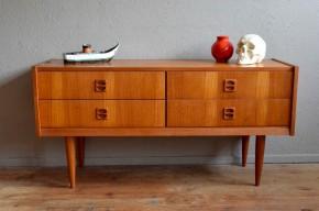 Enfilade bahut bas sideboard vintage rétro scandinave teck années 60meuble Hifi salon antic scandinavian furniture