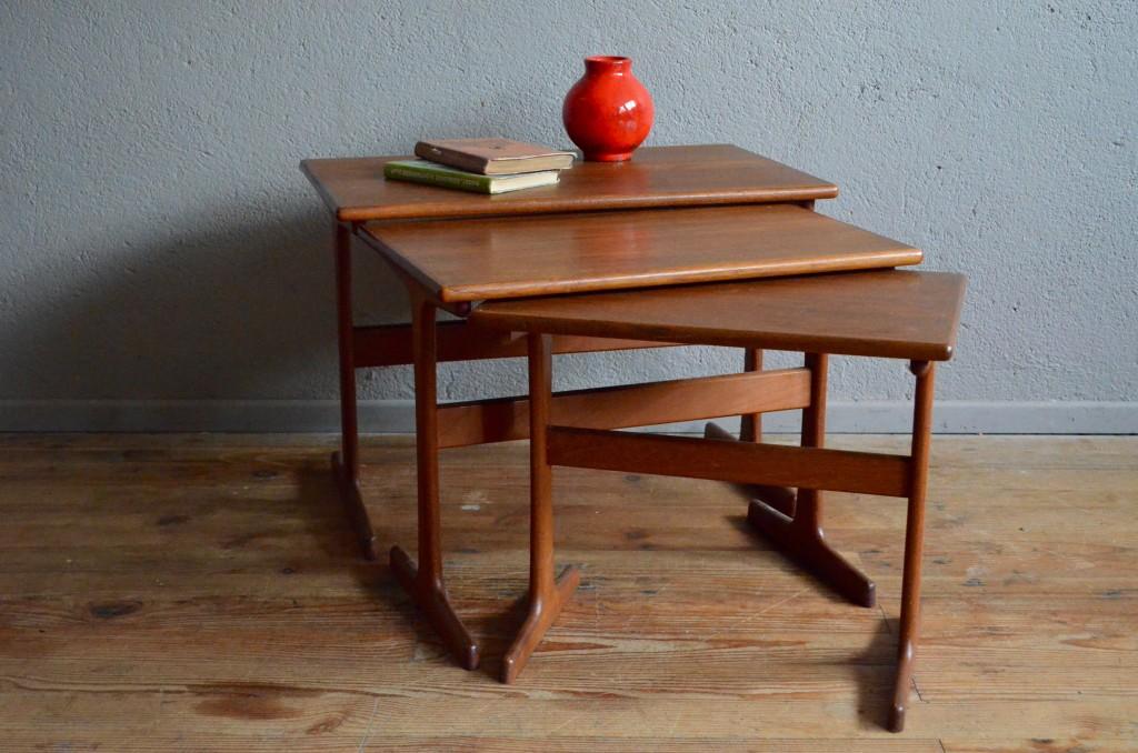 tables gigognes table basse en teck design scandinave danemark meuble danois vintage rtro annes 60 antic - Table Gigogne Vintage