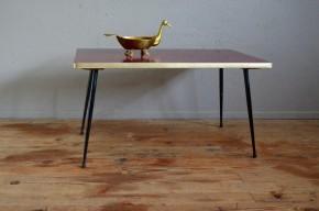Table basse cocktail vintage années soixante minimaliste pieds compas métal
