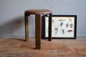 Tabouret Bruno Rey design suisse vintage rétro années 60 furturiste empilable bois dietiker antic swiss