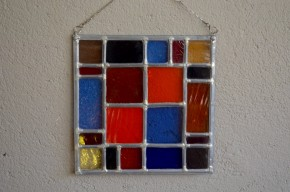 Vitrail rétro curiosité tableau de verre art déco motifs géométriques abstrait  bohème antic french deco stained glass bohemian deco