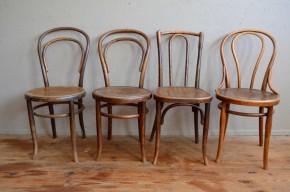 Chaises bistrot Thonet Baumann n.56 14 18 bois courbé ensemble dépareillé Belle Epoque lot de 4 série