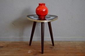 Table tripode motif floraux vintage piétement compas tablette sixties table d'appoint bouquet cadeau