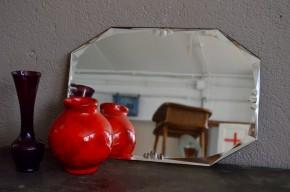 Miroir ancien octogonal  biseautévintage rétro années 40 bohème art déco  collection style maison bohème