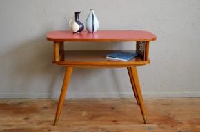 Table d'appoint chevet bout de canapé porte revue vintage rouge guéridon pieds compas ancien