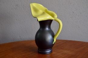 Vase Elchinger fernand Elchinger poterie Alsace pichet arum bicolore noir jaune forme libre