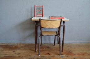 Bureau et chaise enfant vintage rétro piétement tubulaire plateau formica blanc scolaire lot