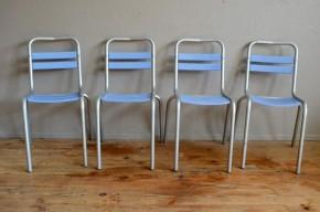 Lot de 4 chaises Tolix anciennes Xavier Pauchard Authentiques métal indus Vintage cuisine série