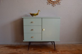 Petit bahut vintage rétro piétement tubulaire compas années 60 moderniste Hitier Guariche Tubauto antic french furniture chest of drawers sixties