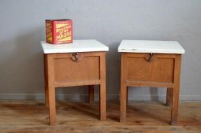 Paire de chevets tabouret de cirage meuble de métier années 40 vintage rétro bohème antic wooden stool french furniture midcentury bohemian deco
