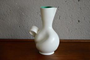 Vase Elchinger fernand Elchinger poterie Alsace pichet forme libre bicolore blanc vert alsace